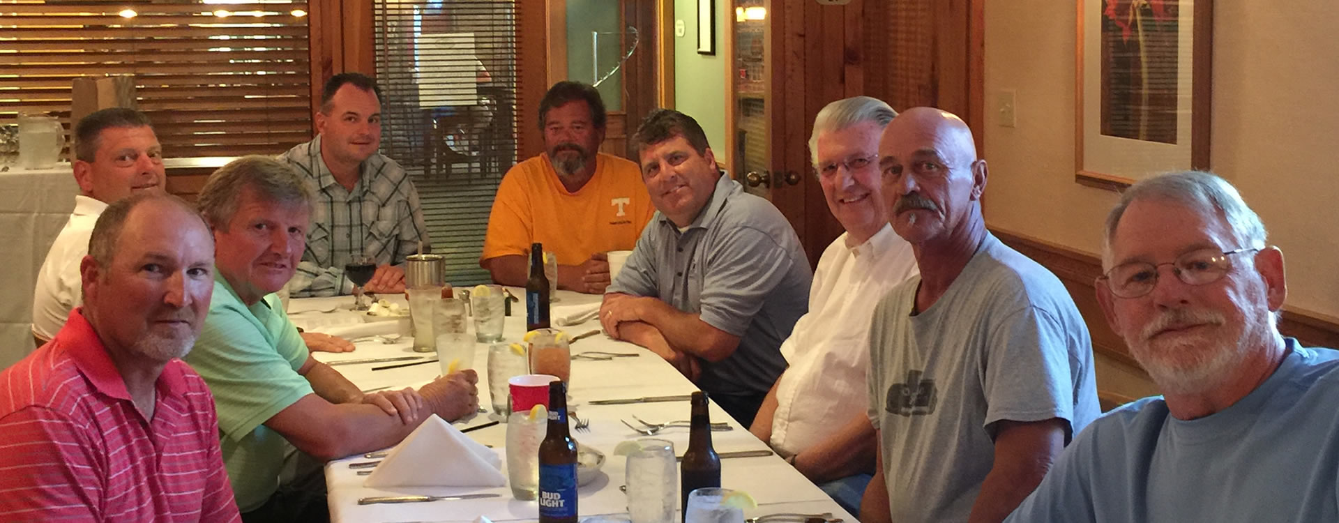 (from left to right) Eric Brown, Johnny Kown, Derek Strange, Bill Chandler, Bobby Newman, Thad Campbell, BR Roberts, David (T-Bone) Tipton, Buster Hudson